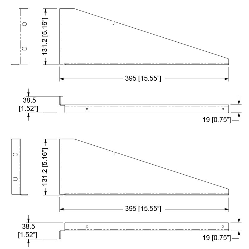 Rack Shelf Extension Supports 395mm/15.55″ – R1195